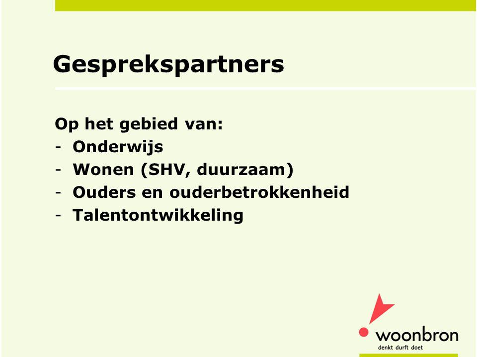 Gesprekspartners Op het gebied van: Onderwijs Wonen (SHV, duurzaam)