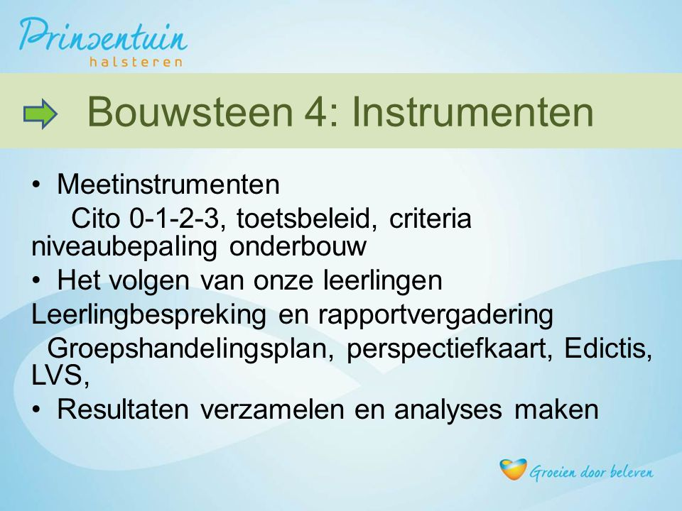 Bouwsteen 4: Instrumenten