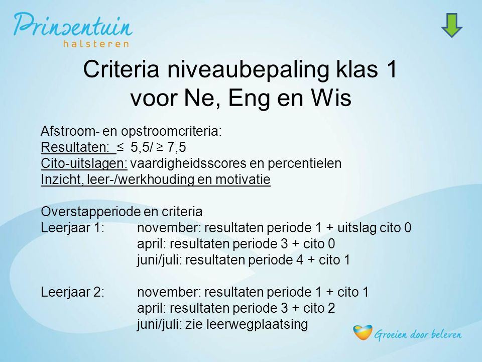 Criteria niveaubepaling klas 1 voor Ne, Eng en Wis