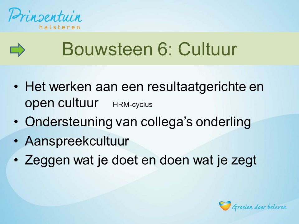 Bouwsteen 6: Cultuur Het werken aan een resultaatgerichte en open cultuur HRM-cyclus. Ondersteuning van collega's onderling.