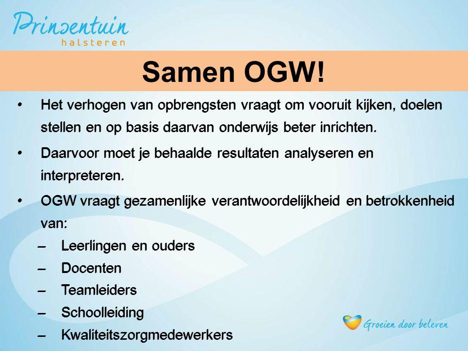Samen OGW! Samen OGW Het verhogen van opbrengsten vraagt om vooruit kijken, doelen stellen en op basis daarvan onderwijs beter inrichten.