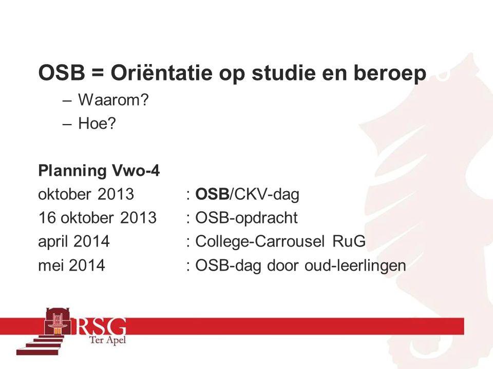 havo OSB = Oriëntatie op studie en beroep Waarom Hoe Planning Vwo-4