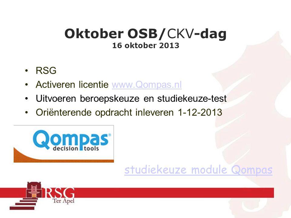 Oktober OSB/CKV-dag 16 oktober 2013