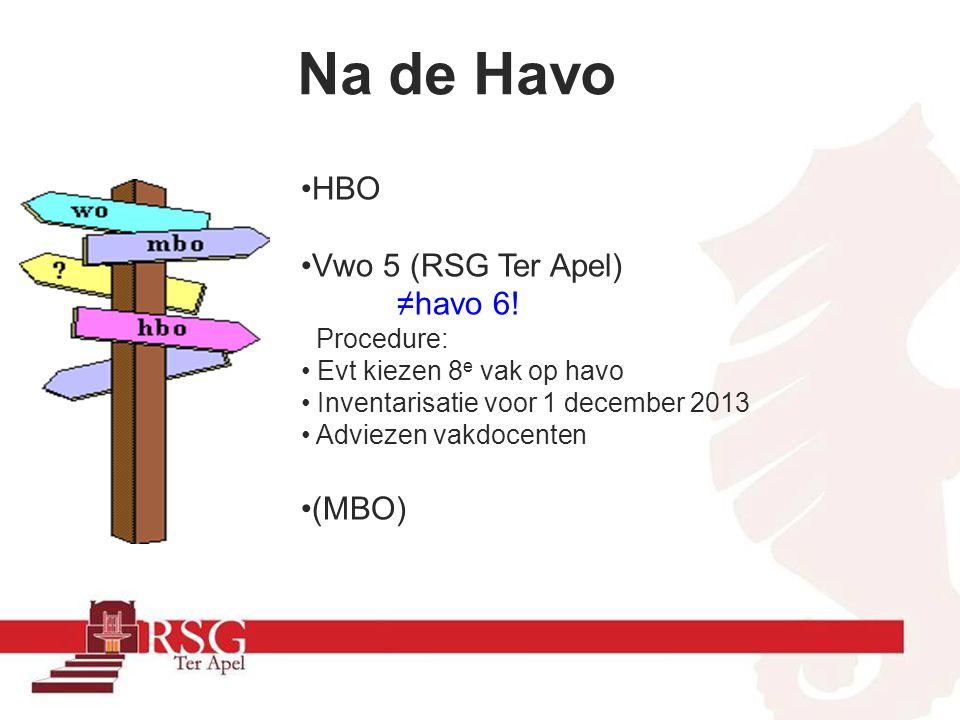 Na de Havo HBO Vwo 5 (RSG Ter Apel) ≠havo 6! (MBO) Procedure: