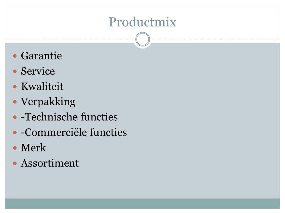 Productmix Garantie Service Kwaliteit Verpakking -Technische functies