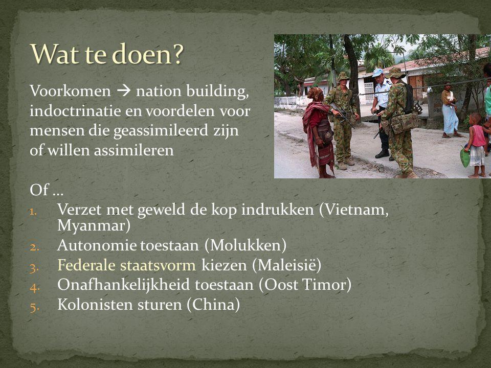 Wat te doen Voorkomen  nation building,