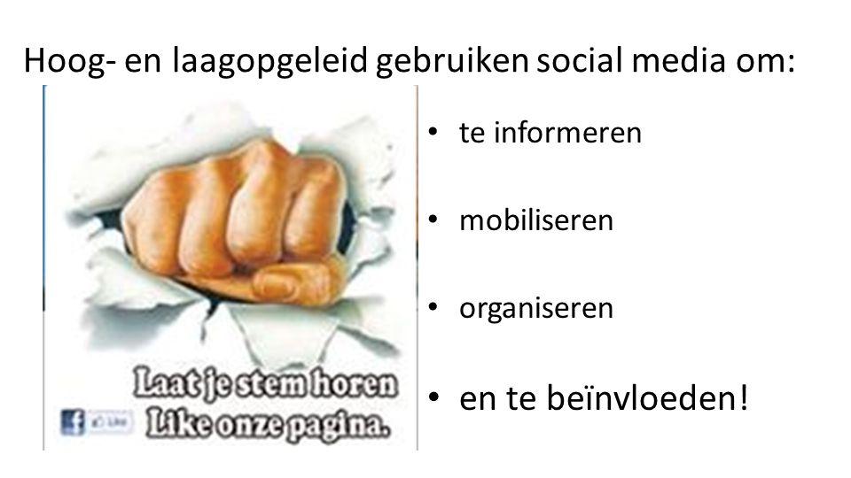 Hoog- en laagopgeleid gebruiken social media om: