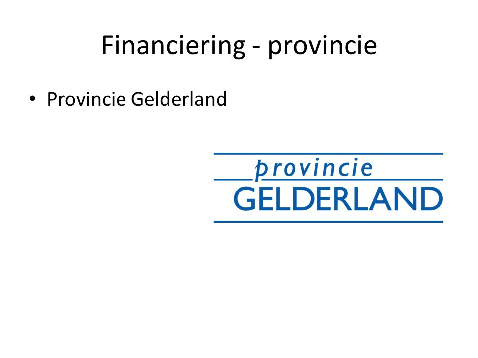 Financiering - provincie