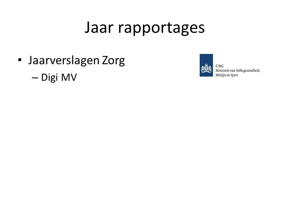 Jaar rapportages Jaarverslagen Zorg Digi MV