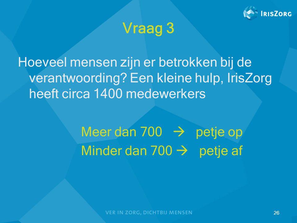 Vraag 3 Hoeveel mensen zijn er betrokken bij de verantwoording Een kleine hulp, IrisZorg heeft circa 1400 medewerkers.
