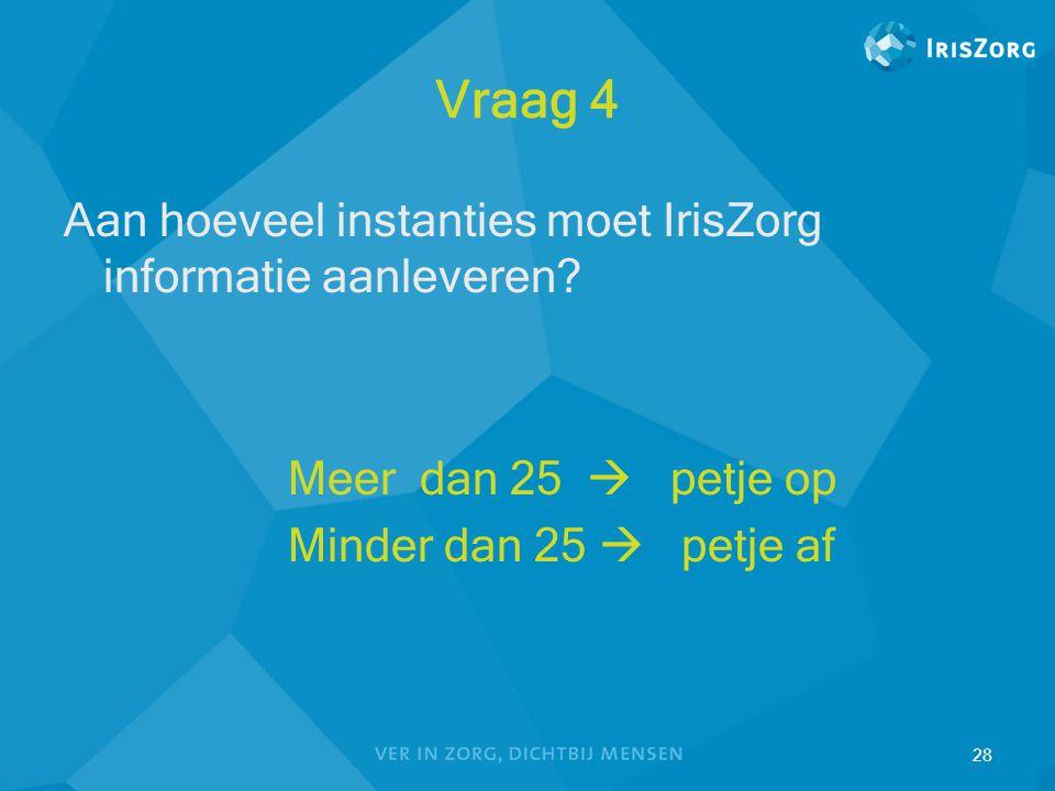 Vraag 4 Aan hoeveel instanties moet IrisZorg informatie aanleveren