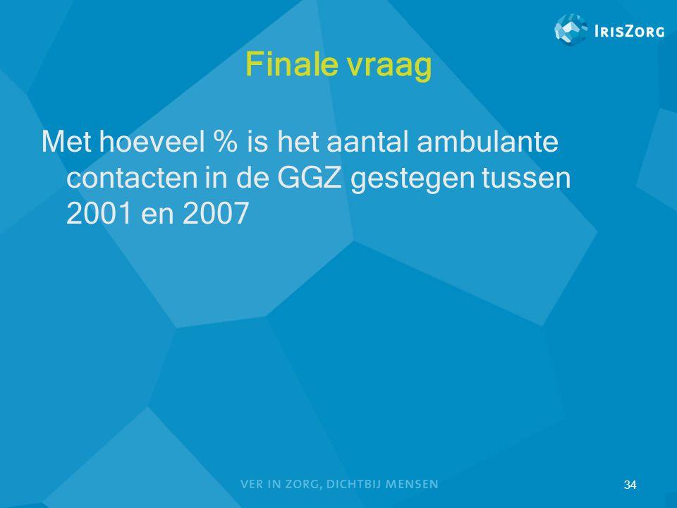 Finale vraag Met hoeveel % is het aantal ambulante contacten in de GGZ gestegen tussen 2001 en 2007