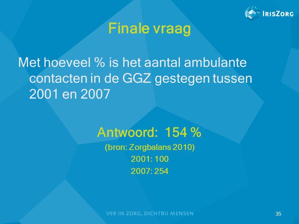 Finale vraag Met hoeveel % is het aantal ambulante contacten in de GGZ gestegen tussen 2001 en 2007.
