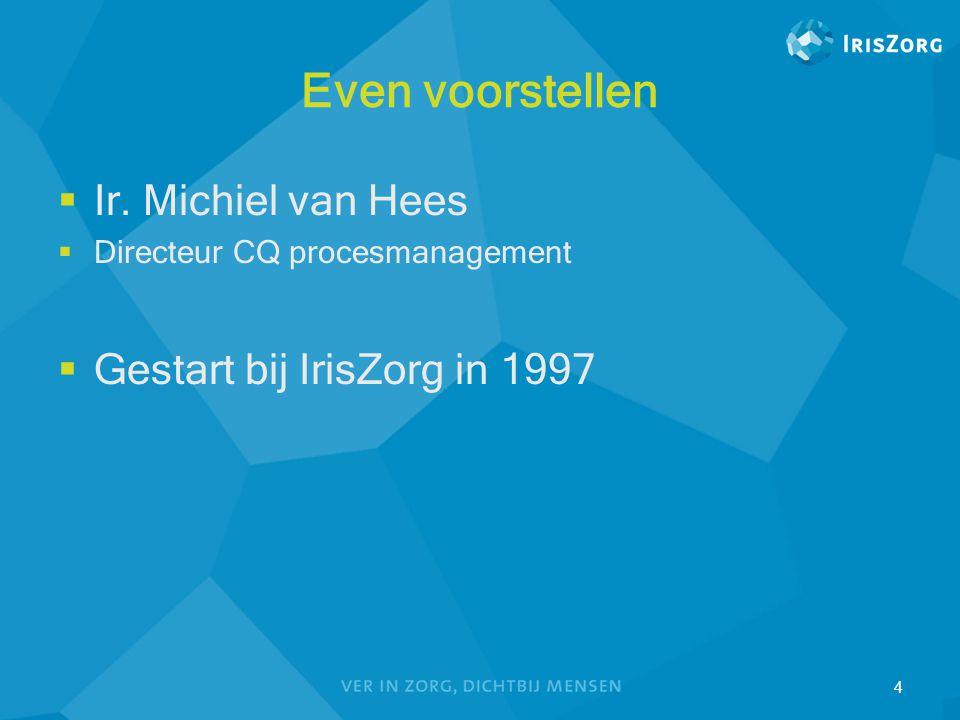 Even voorstellen Ir. Michiel van Hees Gestart bij IrisZorg in 1997