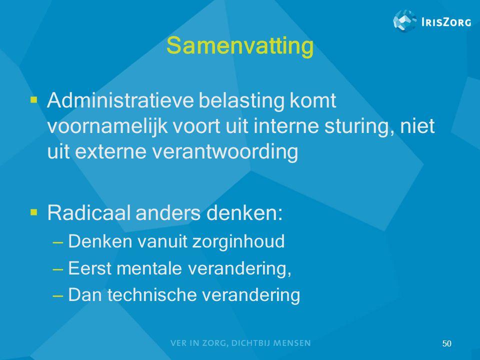 Samenvatting Administratieve belasting komt voornamelijk voort uit interne sturing, niet uit externe verantwoording.