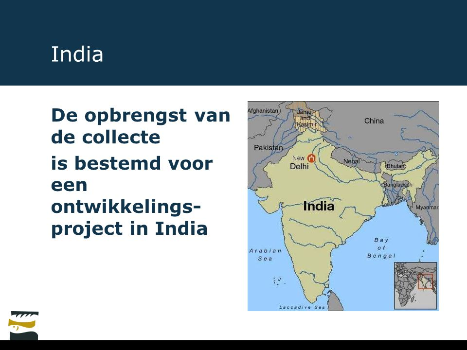 India De opbrengst van de collecte