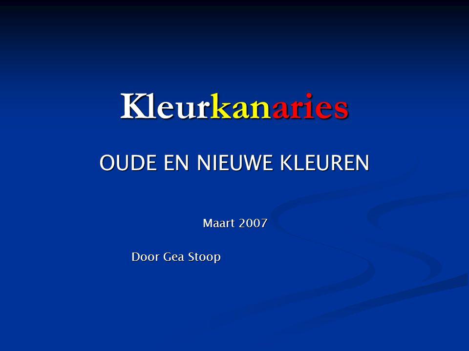 OUDE EN NIEUWE KLEUREN Maart 2007 Door Gea Stoop