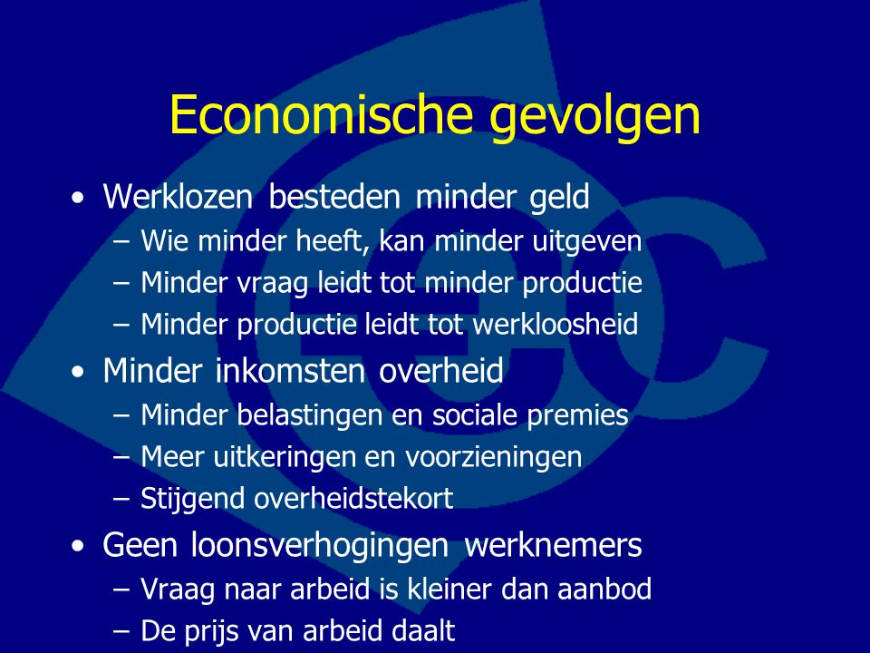 Economische gevolgen Werklozen besteden minder geld