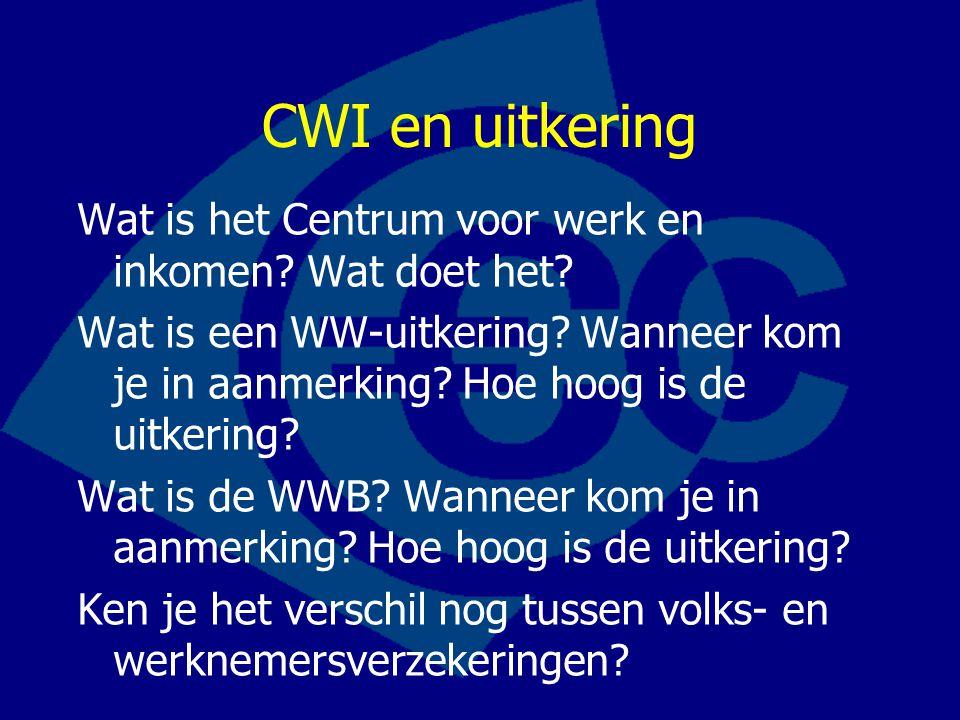 CWI en uitkering