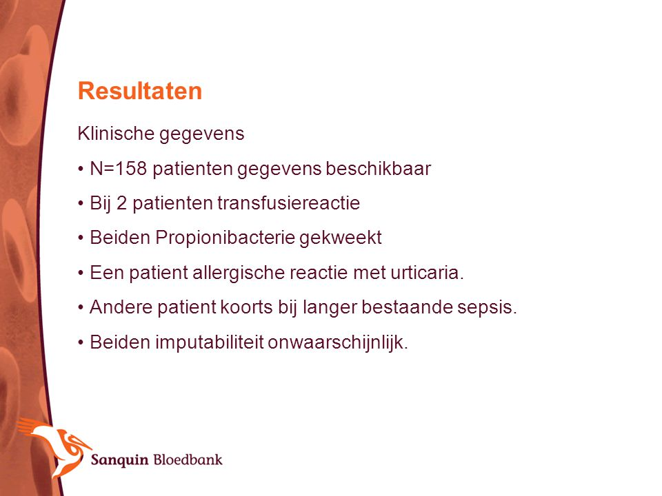 Resultaten Klinische gegevens N=158 patienten gegevens beschikbaar
