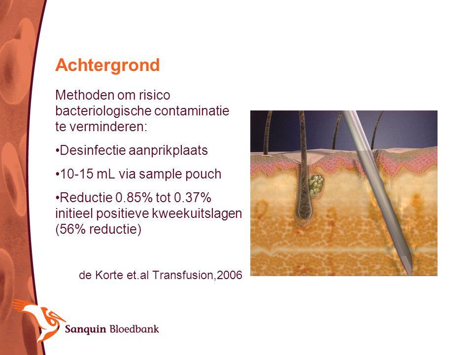 Achtergrond Methoden om risico bacteriologische contaminatie te verminderen: Desinfectie aanprikplaats.
