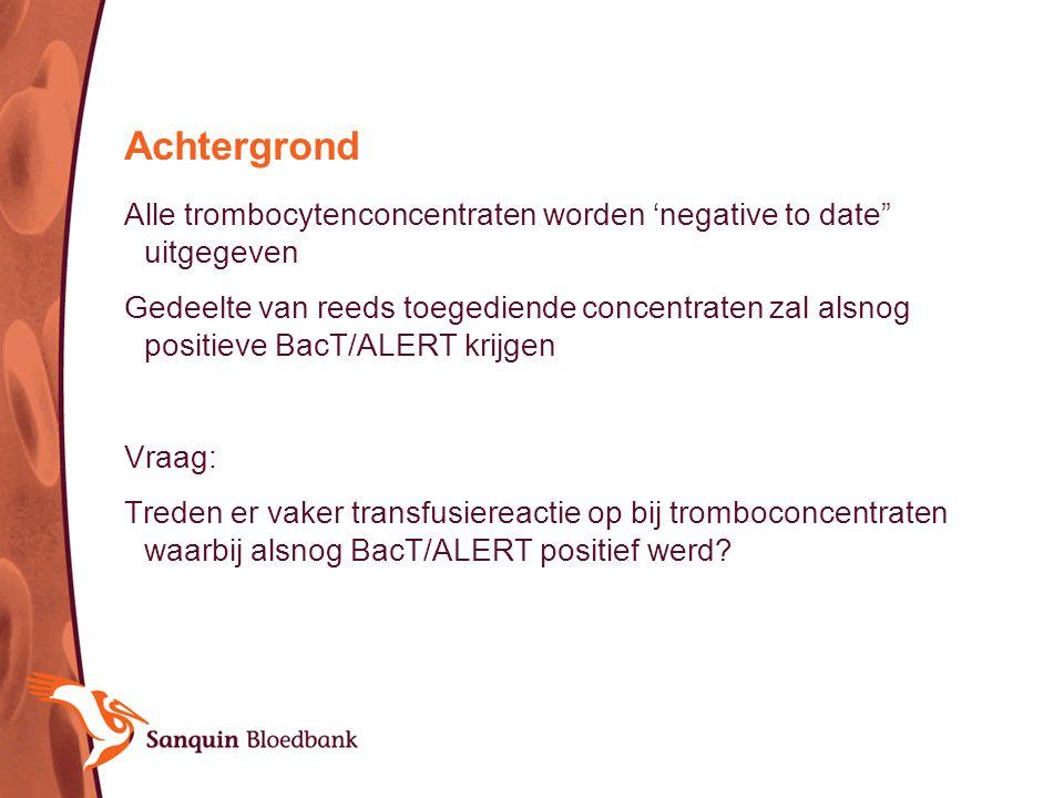 Achtergrond Alle trombocytenconcentraten worden 'negative to date uitgegeven.