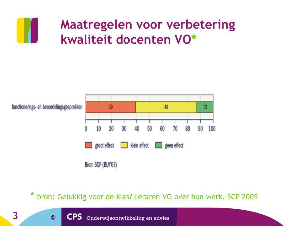 Maatregelen voor verbetering kwaliteit docenten VO*
