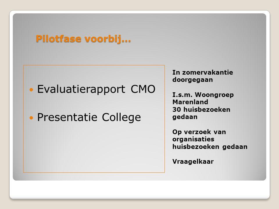 Evaluatierapport CMO Presentatie College Pilotfase voorbij…