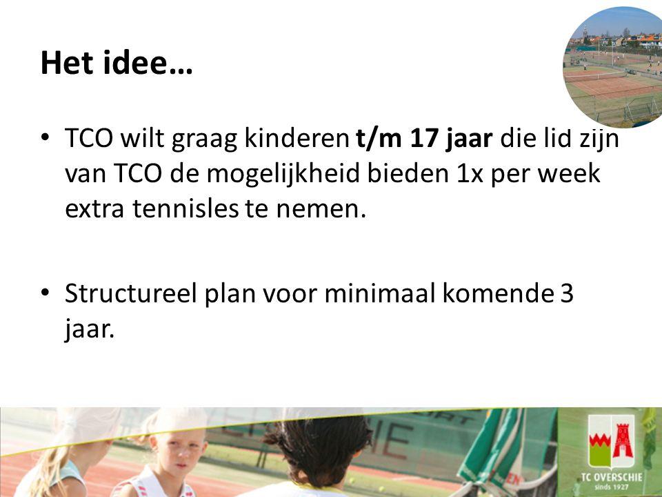 Het idee… TCO wilt graag kinderen t/m 17 jaar die lid zijn van TCO de mogelijkheid bieden 1x per week extra tennisles te nemen.