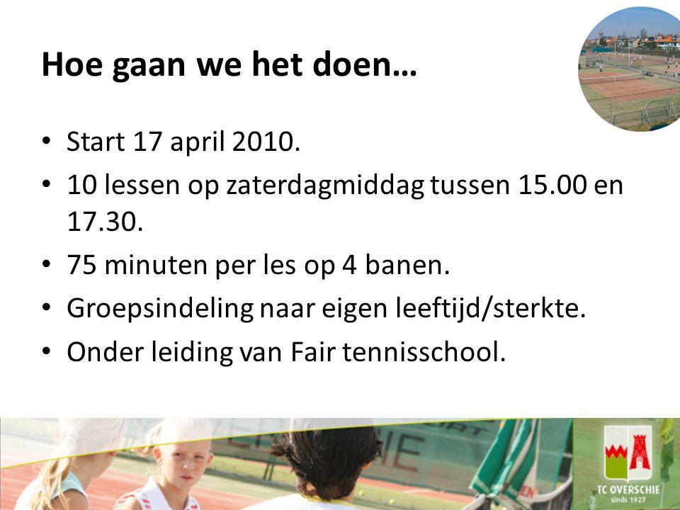 Hoe gaan we het doen… Start 17 april 2010.