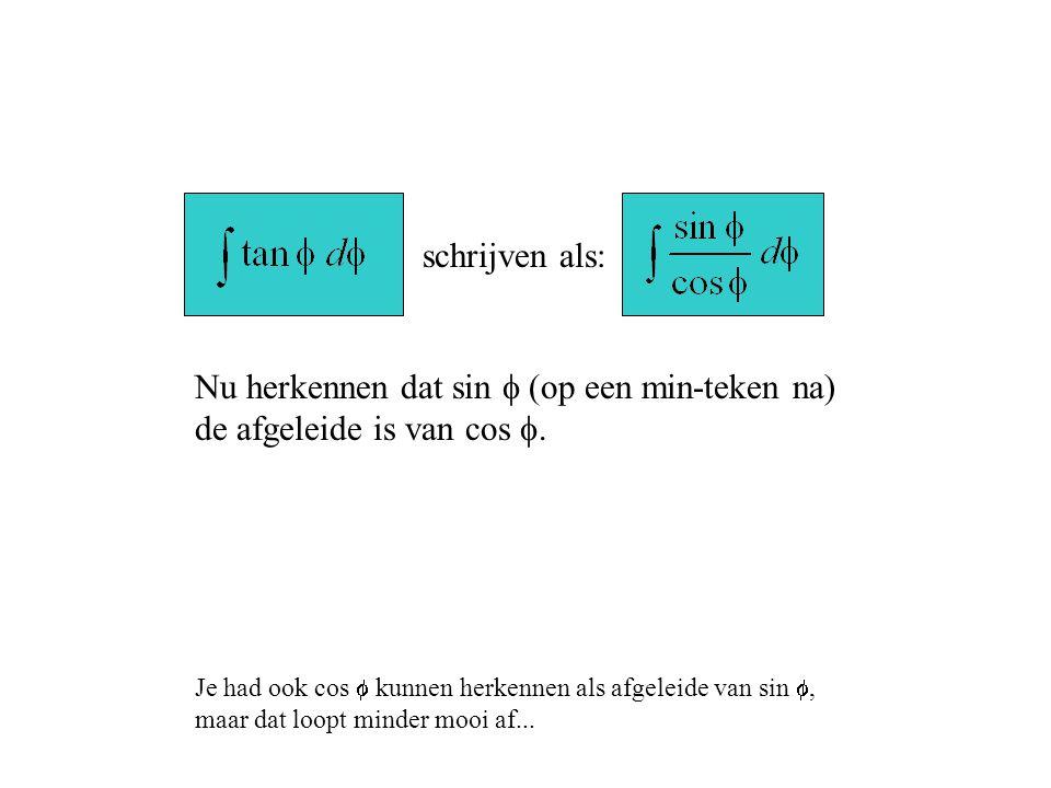 schrijven als: Nu herkennen dat sin f (op een min-teken na) de afgeleide is van cos f.