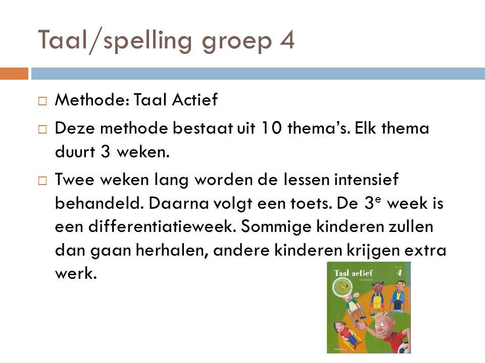 Taal/spelling groep 4 Methode: Taal Actief