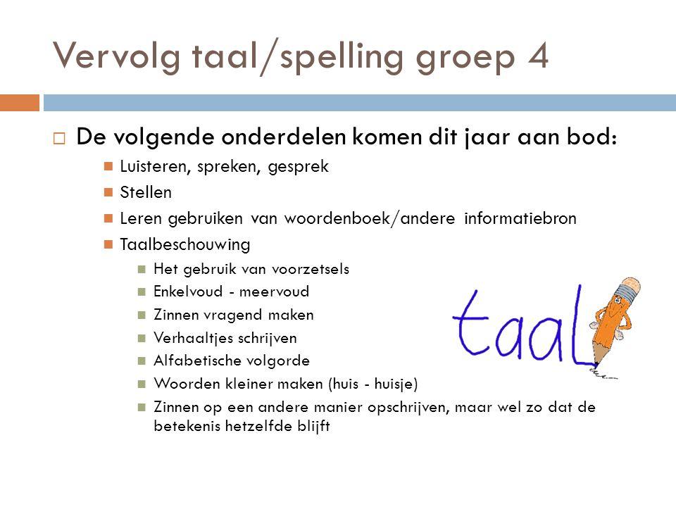 Vervolg taal/spelling groep 4