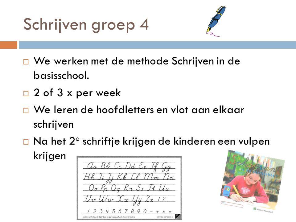 Schrijven groep 4 We werken met de methode Schrijven in de basisschool. 2 of 3 x per week. We leren de hoofdletters en vlot aan elkaar schrijven.