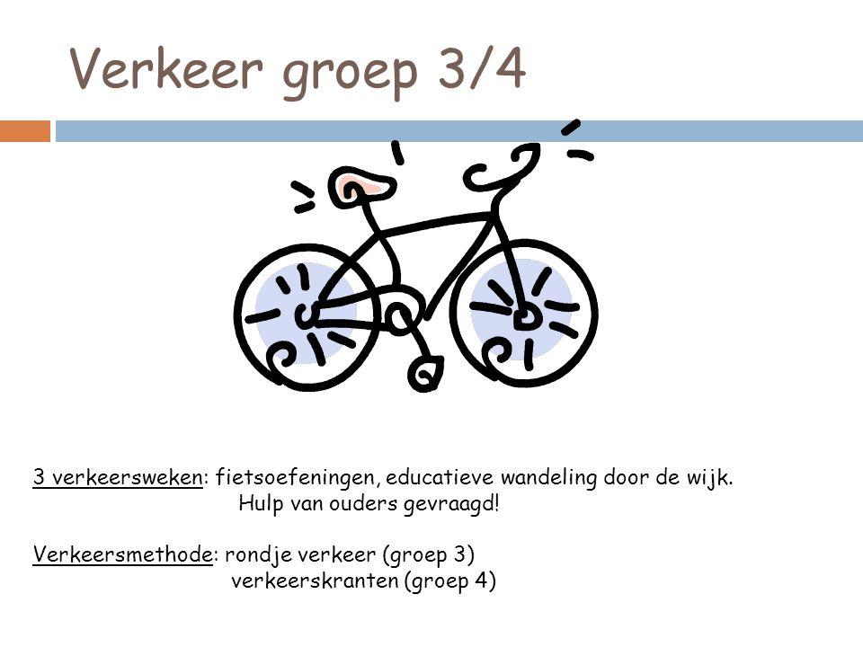 Verkeer groep 3/4 3 verkeersweken: fietsoefeningen, educatieve wandeling door de wijk. Hulp van ouders gevraagd!