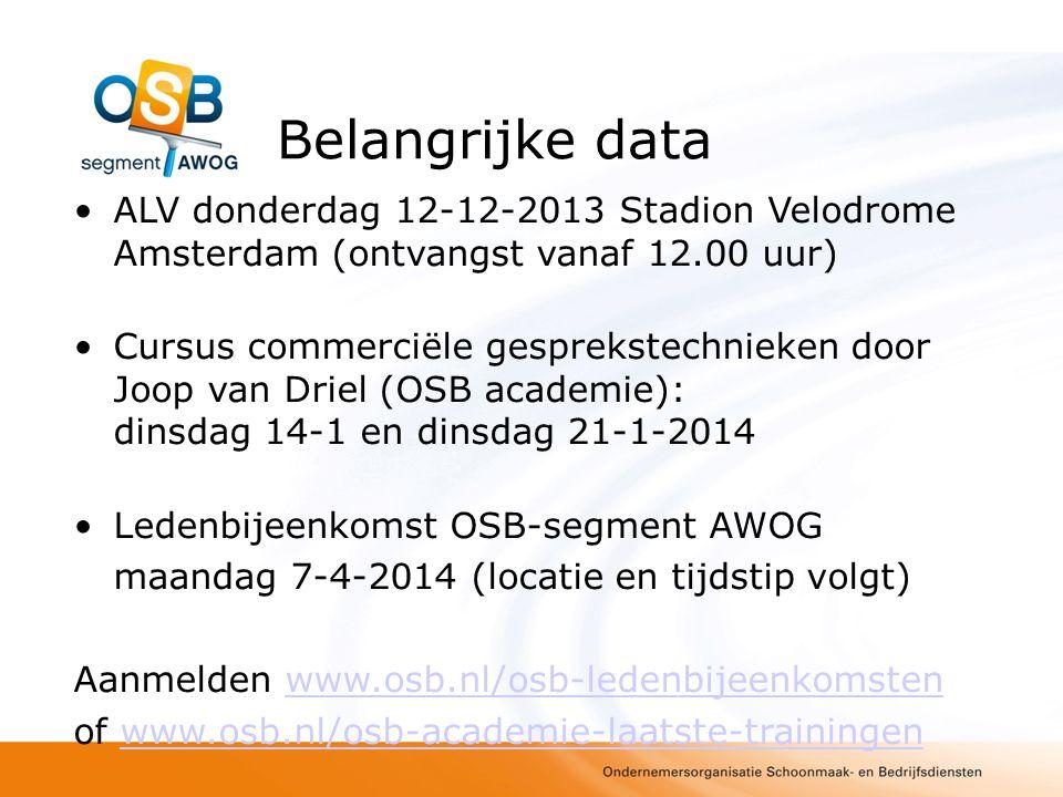 Belangrijke data ALV donderdag 12-12-2013 Stadion Velodrome Amsterdam (ontvangst vanaf 12.00 uur)