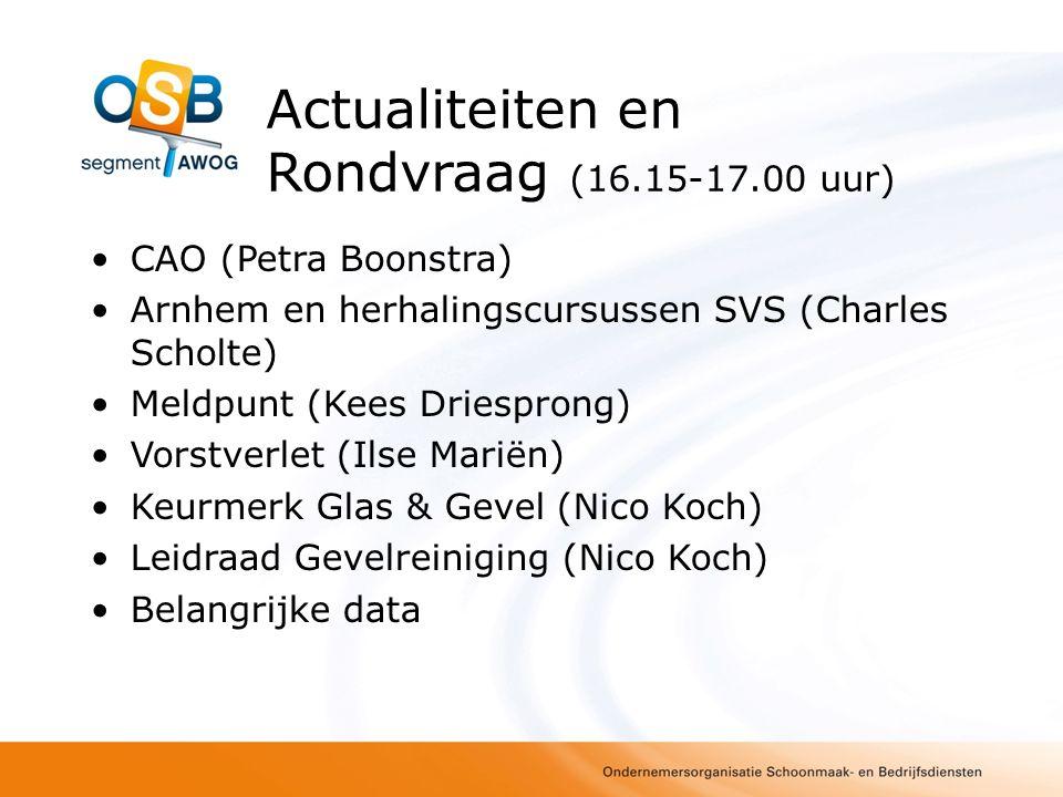 Actualiteiten en Rondvraag (16.15-17.00 uur)