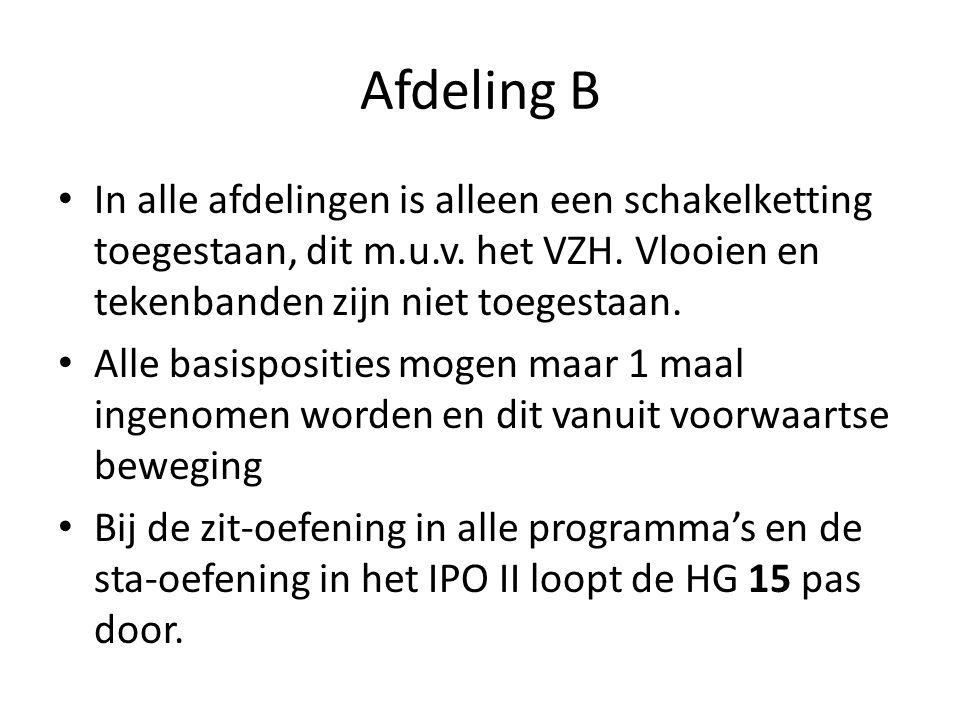 Afdeling B In alle afdelingen is alleen een schakelketting toegestaan, dit m.u.v. het VZH. Vlooien en tekenbanden zijn niet toegestaan.