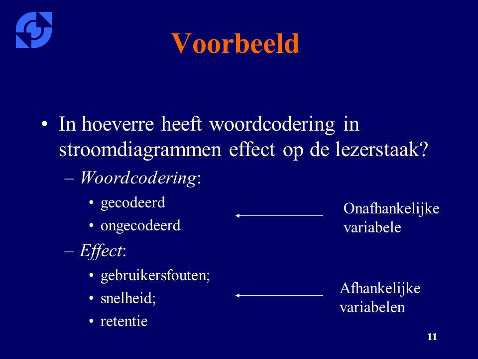 Voorbeeld In hoeverre heeft woordcodering in stroomdiagrammen effect op de lezerstaak Woordcodering: