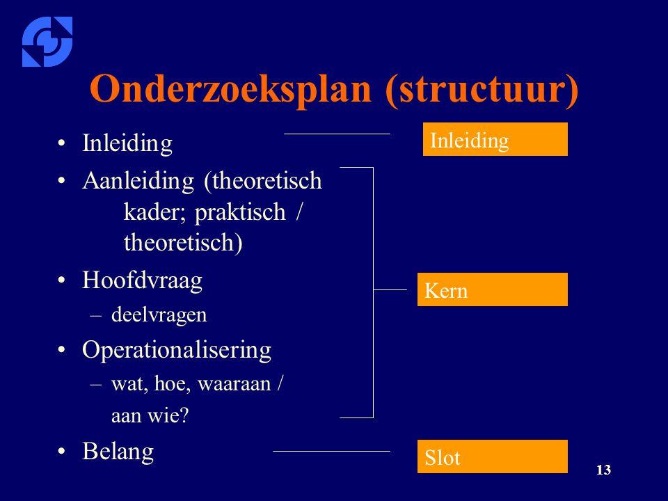 Onderzoeksplan (structuur)