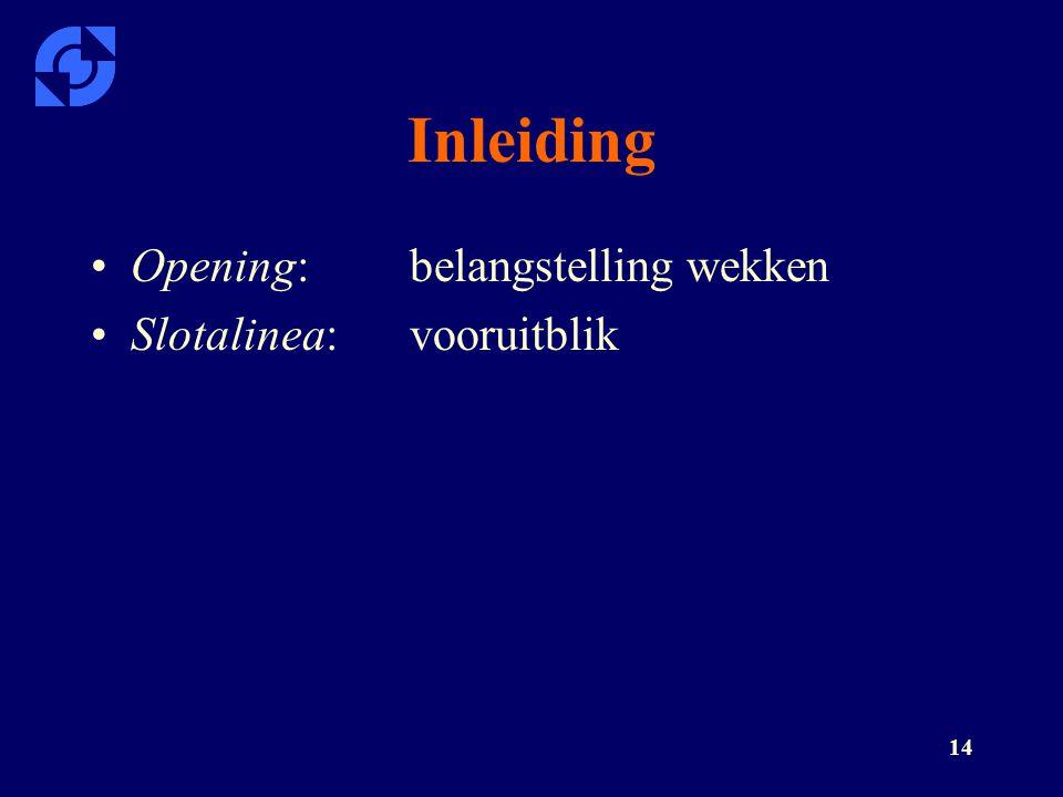 Inleiding Opening: belangstelling wekken Slotalinea: vooruitblik