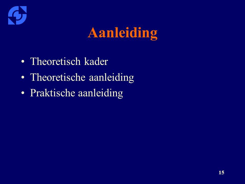 Aanleiding Theoretisch kader Theoretische aanleiding
