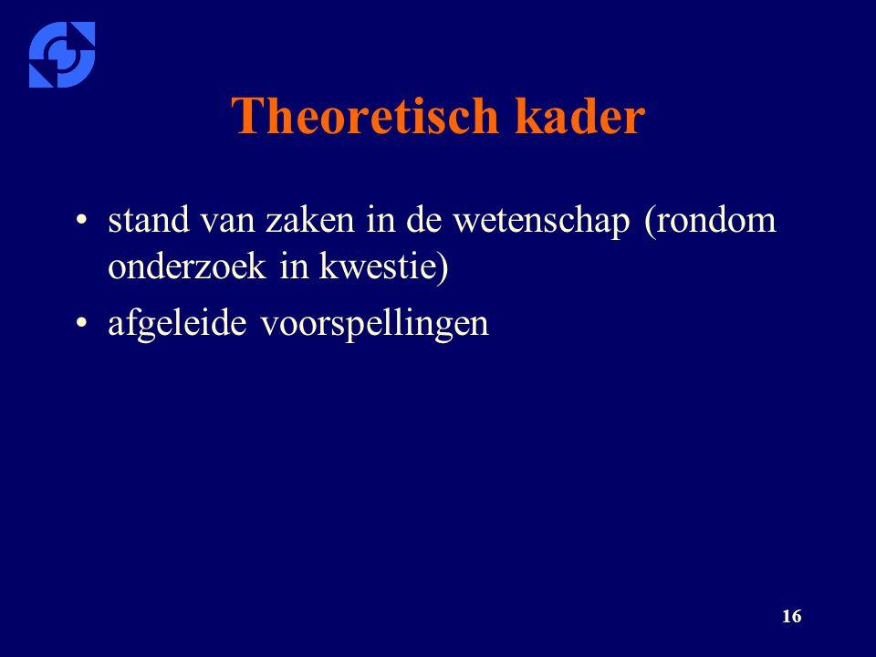 Theoretisch kader stand van zaken in de wetenschap (rondom onderzoek in kwestie) afgeleide voorspellingen.
