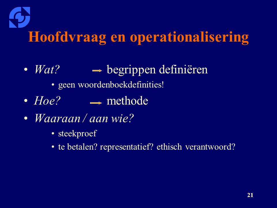 Hoofdvraag en operationalisering