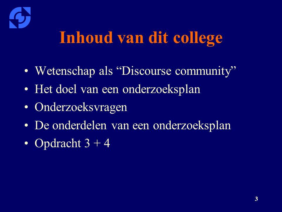 Inhoud van dit college Wetenschap als Discourse community