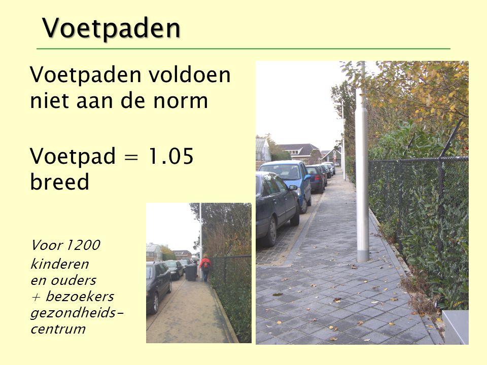 Voetpaden Voetpaden voldoen niet aan de norm Voetpad = 1.05 breed