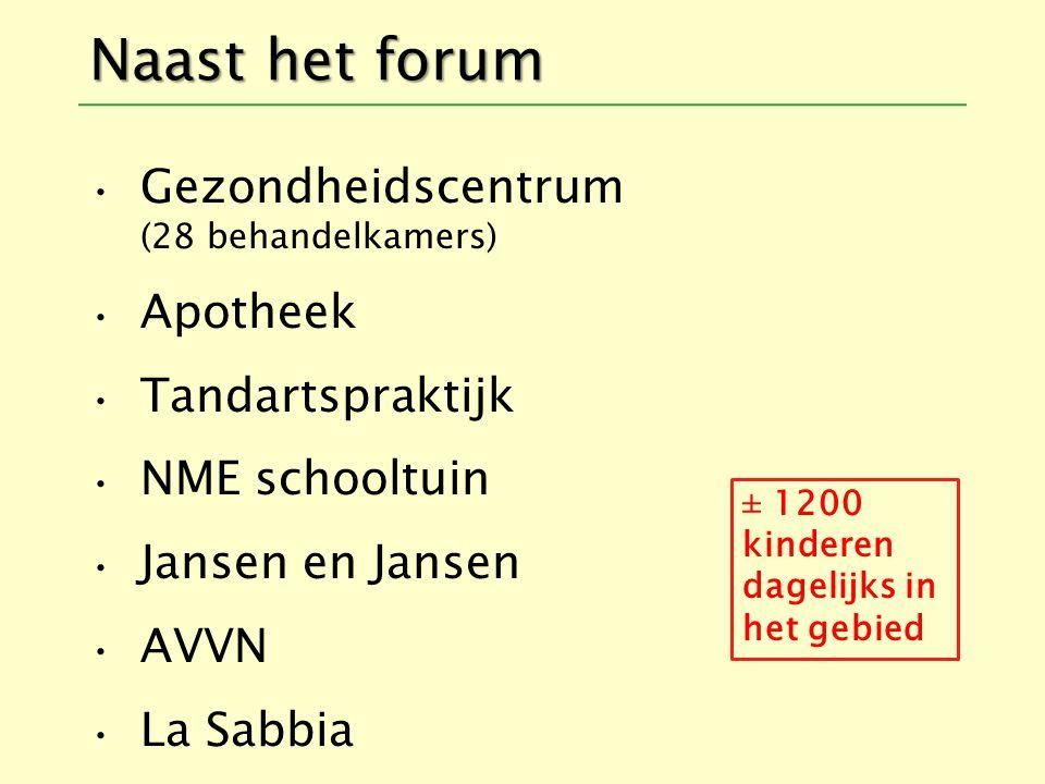Naast het forum Gezondheidscentrum (28 behandelkamers) Apotheek