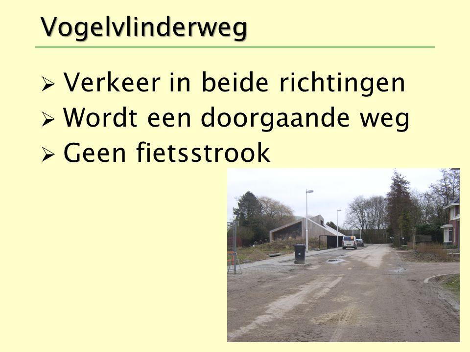 Verkeer in beide richtingen Wordt een doorgaande weg Geen fietsstrook