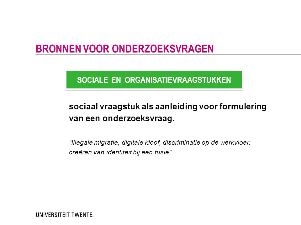 SOCIALE EN ORGANISATIEVRAAGSTUKKEN