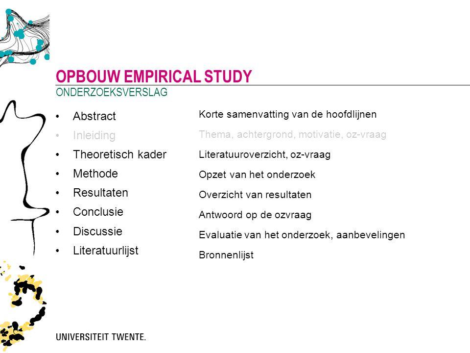Opbouw empirical study
